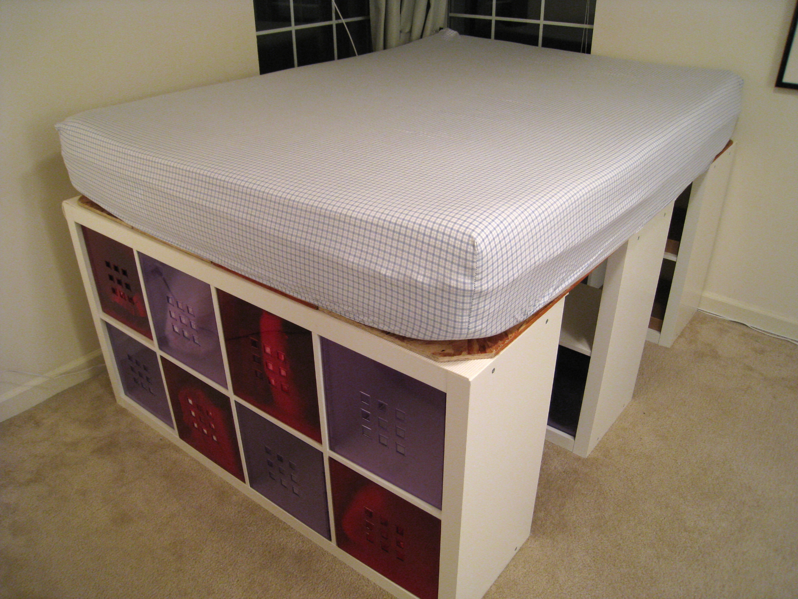 Queen Bed with Expedit Bookshelf Storage