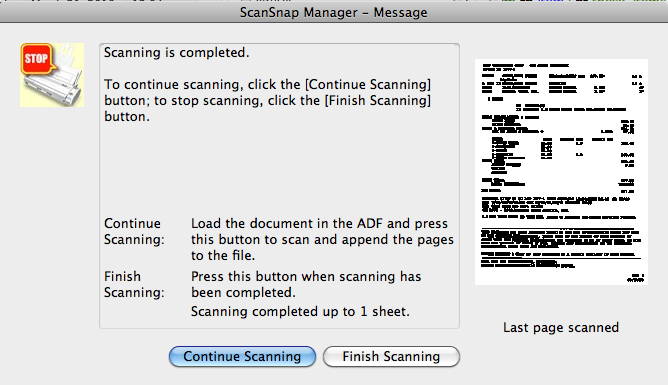 Continue Scanning Message