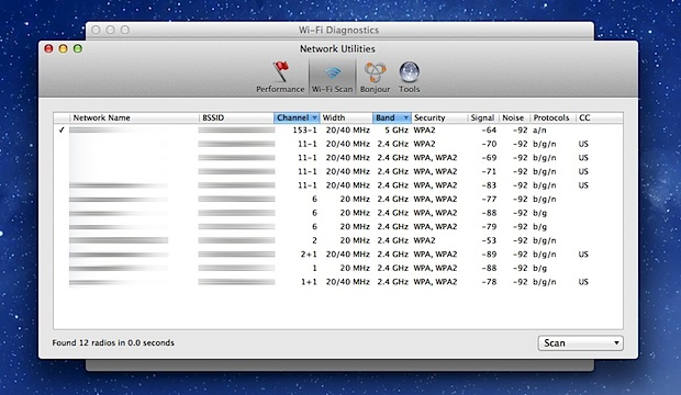 Wi-Fi Scanner Mountain Lion