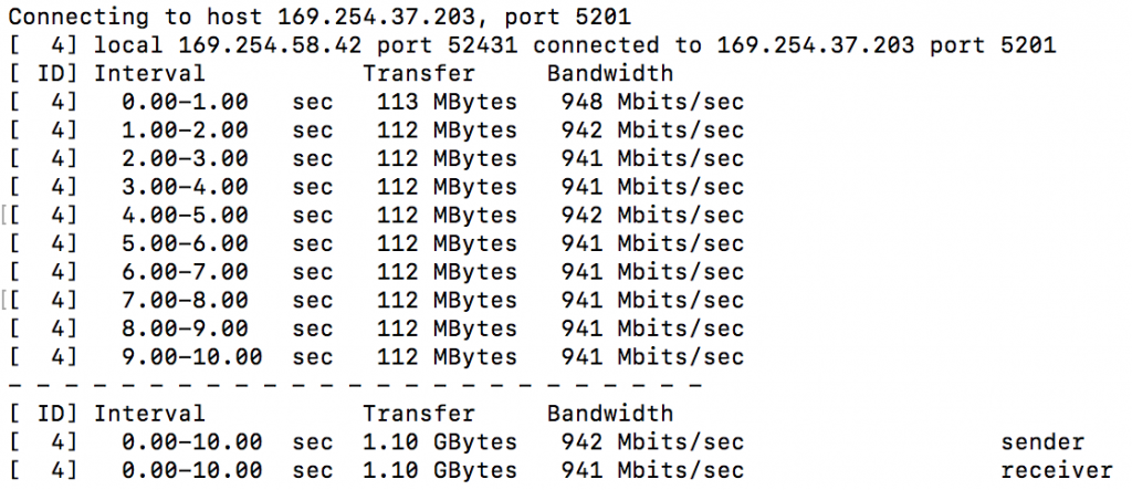 iPerf results showing gigabit speeds