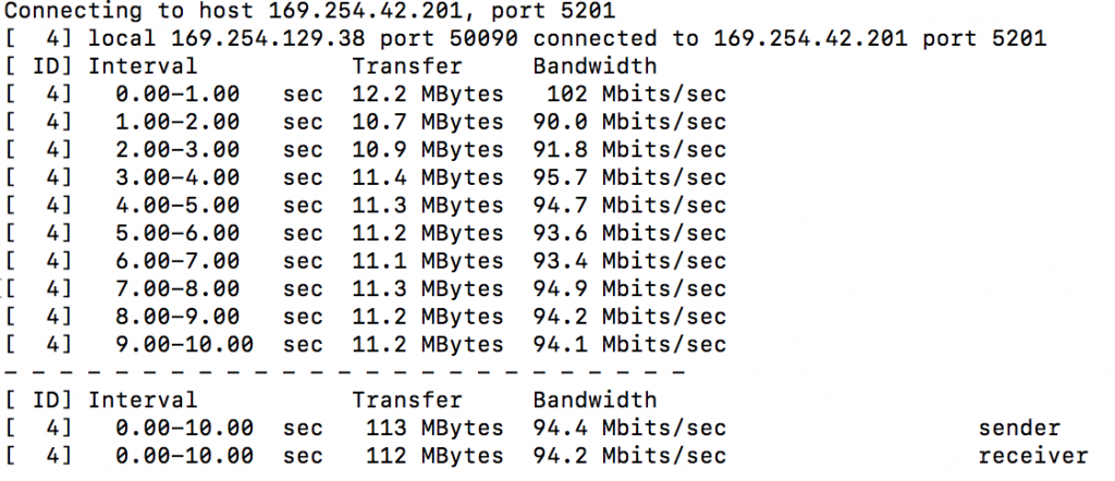 iPerf output showing 100 Mbits/sec speed capability of cable